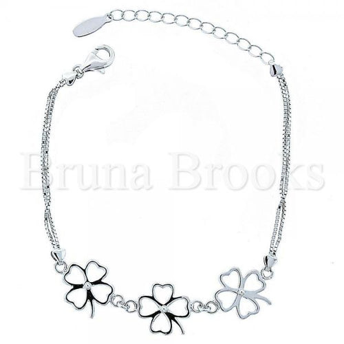 Bruna Brooks Sterling Silver 03.176.0004 Fancy Bracelet, Flower Design, Polished Finish, Rhodium Tone