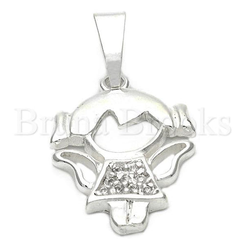 Bruna Brooks Sterling Silver 05.16.0203 Fancy Pendant, Little Girl Design, with White Crystal, Polished Finish, Silver Tone