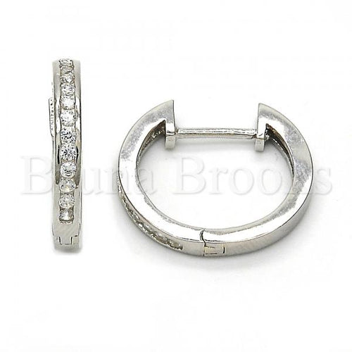 Bruna Brooks Sterling Silver 02.174.0053.20 Huggie Hoop, with White Cubic Zirconia, Polished Finish, Rhodium Tone
