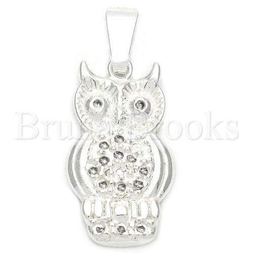 Bruna Brooks Sterling Silver 05.16.0202 Fancy Pendant, Owl Design, with Black Crystal, Polished Finish, Silver Tone