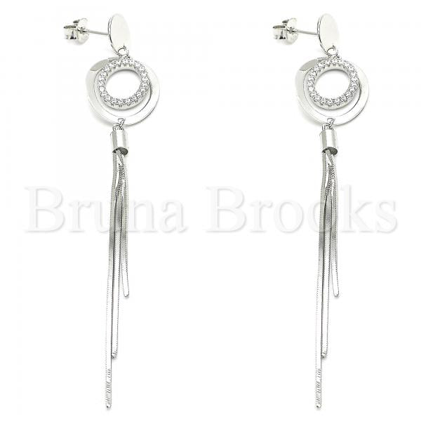 Sterling Silver Stud Earring, with Crystal, Rhodium Tone