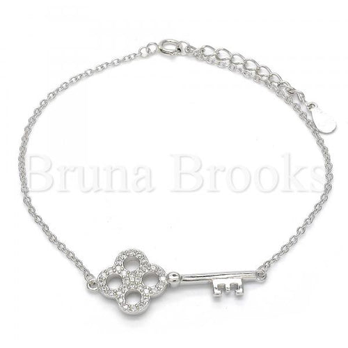 Bruna Brooks Sterling Silver 03.336.0020.07 Fancy Bracelet, key Design, with White Cubic Zirconia, Polished Finish, Rhodium Tone