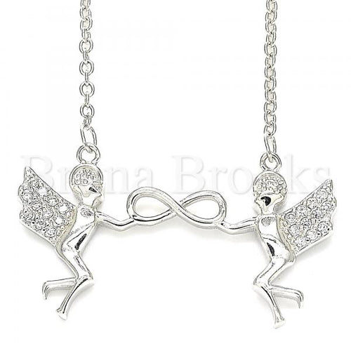 Bruna Brooks Sterling Silver 04.336.0188.16 Fancy Necklace, Angel and Infinite Design, with White Cubic Zirconia, Polished Finish, Rhodium Tone