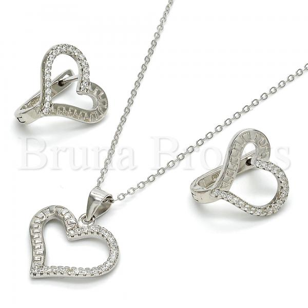 Sterling Silver 10.175.0050 Earring and Pendant Adult Set, Heart Design, with White Crystal, Polished Finish, Rhodium Tone