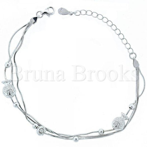 Bruna Brooks Sterling Silver 03.183.0085 Fancy Bracelet, Fish Design, Matte Finish, Rhodium Tone