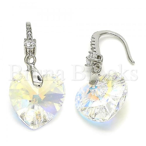 Rhodium Plated 02.26.0256 Dangle Earring, Heart Design, with Aurore Boreale Swarovski Crystals and White Cubic Zirconia, Polished Finish, Rhodium Tone