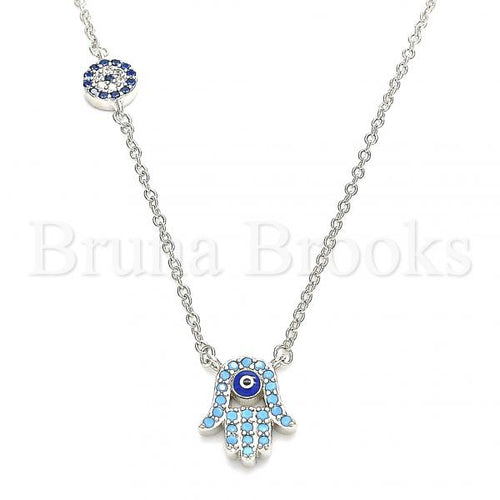 Bruna Brooks Sterling Silver 04.336.0222.16 Fancy Necklace, Hand of God and Greek Eye Design, with Turquoise Cubic Zirconia and Sapphire Blue Micro Pave, Blue Enamel Finish, Rhodium Tone