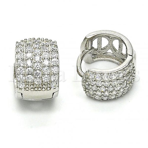 Bruna Brooks Sterling Silver 02.174.0051.15 Huggie Hoop, with White Cubic Zirconia, Polished Finish, Rhodium Tone