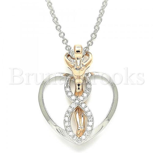 Bruna Brooks Sterling Silver 04.336.0193.16 Fancy Necklace, Heart Design, with White Micro Pave, Polished Finish, Two Tone