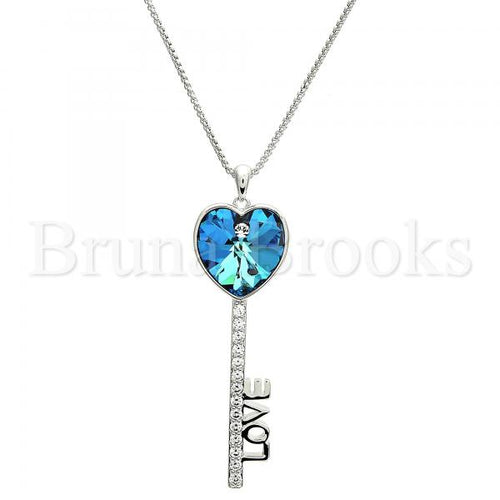 Rhodium Plated Fancy Necklace, key and Love Design, with Swarovski Crystals and Cubic Zirconia, Rhodium Tone