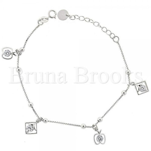 Bruna Brooks Sterling Silver 03.183.0062.06 Fancy Bracelet, Apple Design, with White Cubic Zirconia, Rhodium Tone