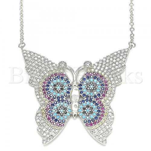 Bruna Brooks Sterling Silver 04.336.0216.16 Fancy Necklace, Butterfly Design, with Multicolor Micro Pave, Polished Finish, Rhodium Tone