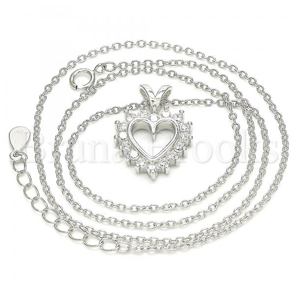 Sterling Silver 04.336.0211.16 Fancy Necklace, Heart Design, with White Cubic Zirconia, Polished Finish, Rhodium Tone