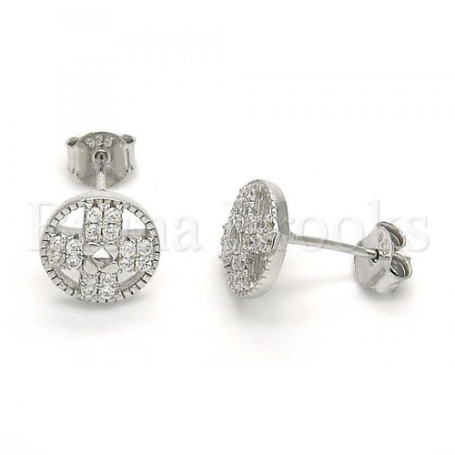 Bruna Brooks Sterling Silver 02.186.0106 Stud Earring, with White Crystal, Polished Finish, Rhodium Tone