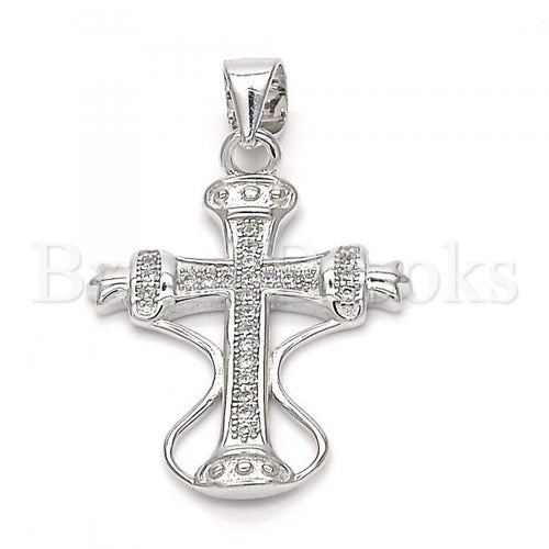 Bruna Brooks Sterling Silver 05.336.0004 Fancy Pendant, Cross Design, with White Micro Pave, Polished Finish, Rhodium Tone