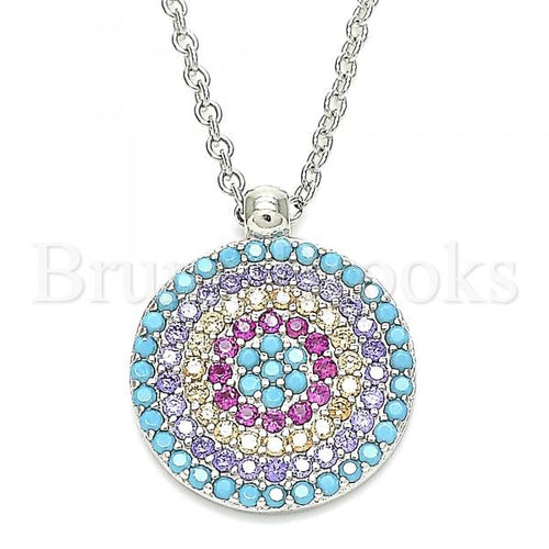 Bruna Brooks Sterling Silver 04.336.0217.16 Fancy Necklace, with Multicolor Cubic Zirconia, Polished Finish, Rhodium Tone