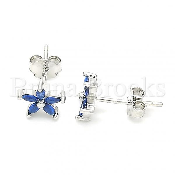 Sterling Silver Stud Earring, Flower Design, with Cubic Zirconia, Rhodium Tone