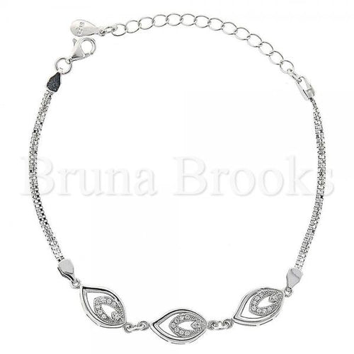 Bruna Brooks Sterling Silver 03.183.0034 Fancy Bracelet, Teardrop Design, with  Micro Pave, Polished Finish, Rhodium Tone