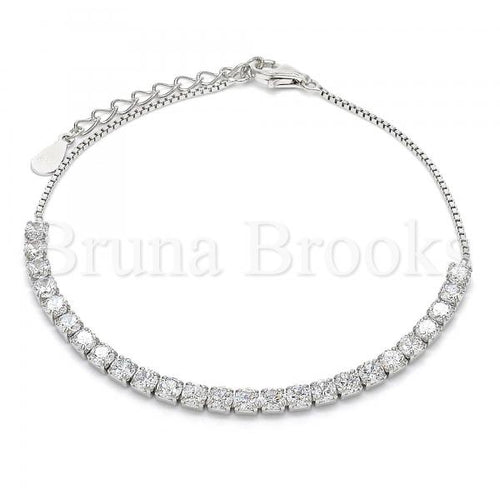 Bruna Brooks Sterling Silver 03.336.0028.07 Fancy Bracelet, with White Crystal, Polished Finish, Rhodium Tone