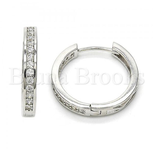 Bruna Brooks Sterling Silver 02.174.0056.20 Huggie Hoop, with White Cubic Zirconia, Polished Finish, Rhodium Tone