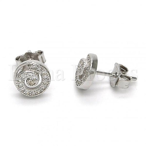 Bruna Brooks Sterling Silver 02.292.0014 Stud Earring, Spiral Design, with White Micro Pave, Polished Finish, Rhodium Tone