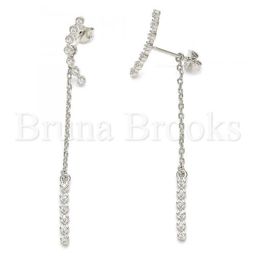 Bruna Brooks Sterling Silver 02.366.0009 Long Earring, with White Cubic Zirconia, Polished Finish, Rhodium Tone