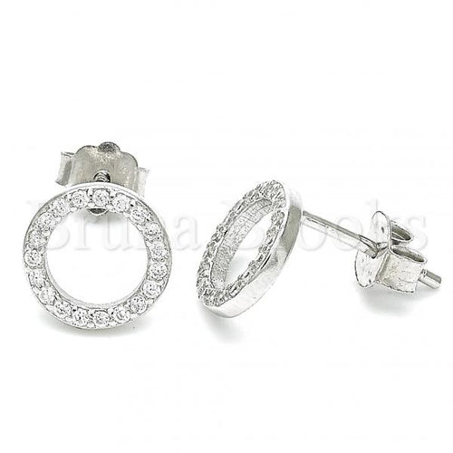 Sterling Silver Stud Earring, with Cubic Zirconia, Rhodium Tone