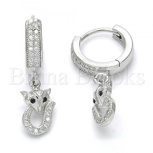 Bruna Brooks Sterling Silver 02.186.0078 Dangle Earring, with Black and White Micro Pave, Polished Finish, Rhodium Tone