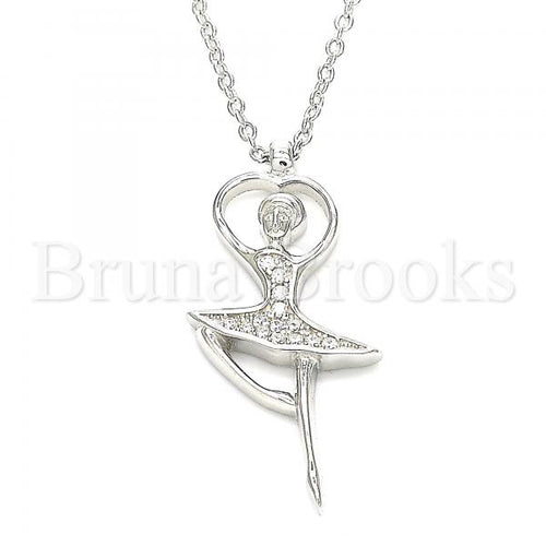 Bruna Brooks Sterling Silver 04.336.0199.16 Fancy Necklace, with White Crystal, Polished Finish, Rhodium Tone