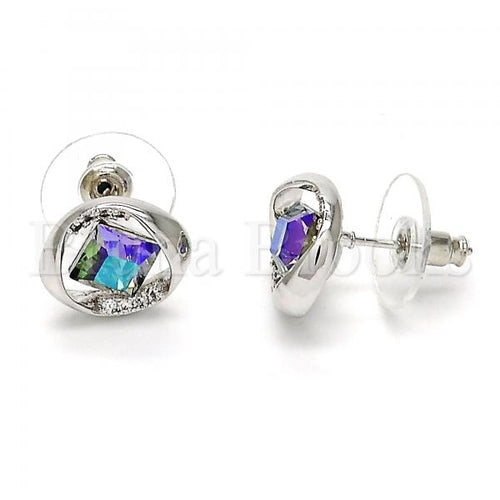 Rhodium Plated Stud Earring, with Swarovski Crystals and Crystal, Rhodium Tone