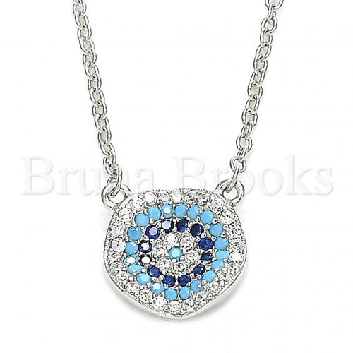 Bruna Brooks Sterling Silver 04.336.0221.16 Fancy Necklace, with Multicolor Micro Pave, Polished Finish, Rhodium Tone