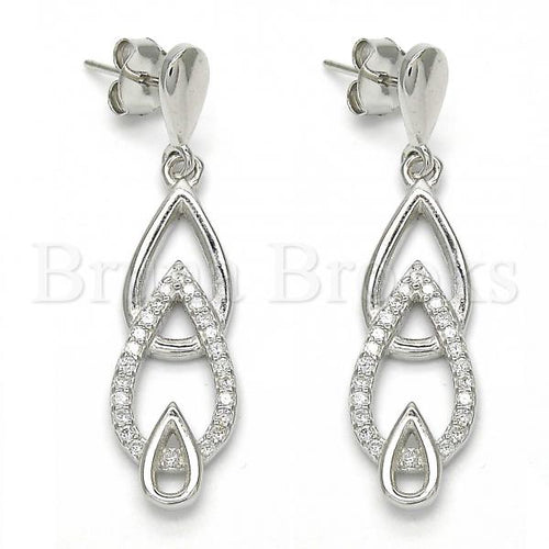 Bruna Brooks Sterling Silver 02.337.0002 Long Earring, Teardrop Design, with White Cubic Zirconia, Polished Finish, Rhodium Tone