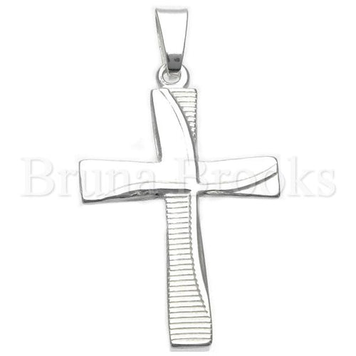 Bruna Brooks Sterling Silver 05.16.0194 Religious Pendant, Cross Design, Diamond Cutting Finish, Silver Tone