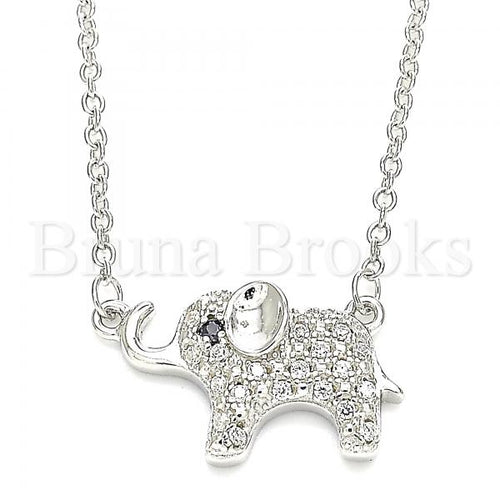Bruna Brooks Sterling Silver 04.336.0177.16 Fancy Necklace, Elephant Design, with White Crystal, Polished Finish, Rhodium Tone