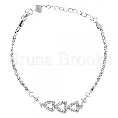 Bruna Brooks Sterling Silver 03.183.0061 Fancy Bracelet, with White Cubic Zirconia, Polished Finish, Rhodium Tone