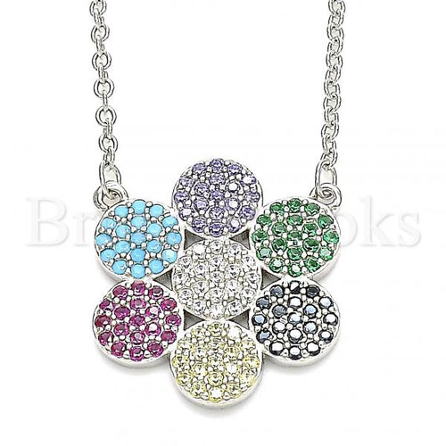 Bruna Brooks Sterling Silver 04.336.0223.16 Fancy Necklace, with Multicolor Cubic Zirconia, Polished Finish, Rhodium Tone