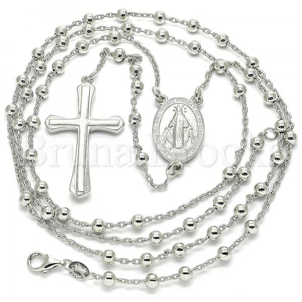 Sterling Silver 09.285.0004.28 Thin Rosary, Virgen Maria and Cross Design, Polished Finish, Rhodium Tone