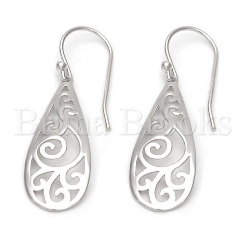 Sterling Silver Dangle Earring, Rhodium Tone