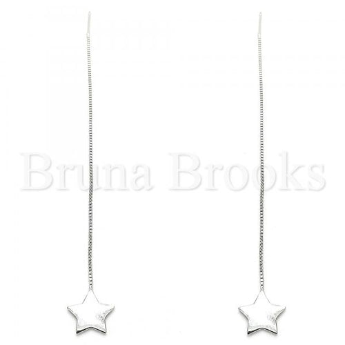 Bruna Brooks Sterling Silver 02.332.0081 Threader Earring, Star Design, Polished Finish, Rhodium Tone