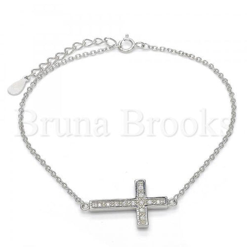 Bruna Brooks Sterling Silver 03.336.0016.07 Fancy Bracelet, Cross Design, with White Micro Pave, Polished Finish, Rhodium Tone