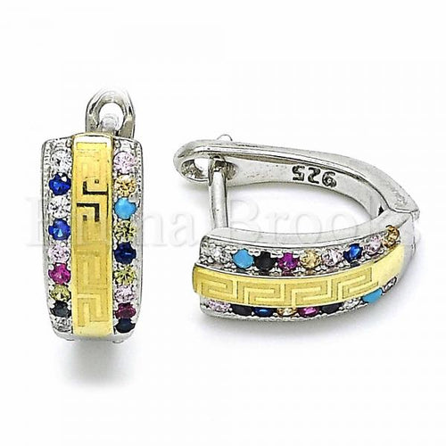 Bruna Brooks Sterling Silver 02.186.0064.2.12 Huggie Hoop, Greek Eye Design, with Multicolor Cubic Zirconia, Polished Finish, Two Tone