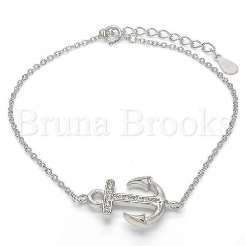 Bruna Brooks Sterling Silver 03.336.0027.07 Fancy Bracelet, Anchor Design, with White Micro Pave, Polished Finish, Rhodium Tone