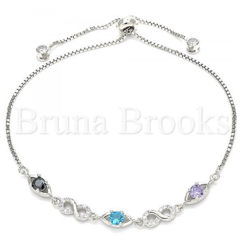 Bruna Brooks Sterling Silver 03.175.0002.11 Fancy Bracelet, Infinite Design, with Multicolor Cubic Zirconia, Polished Finish, Rhodium Tone