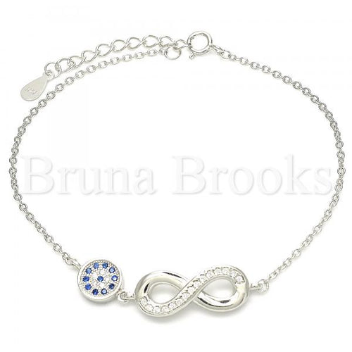 Bruna Brooks Sterling Silver 03.336.0060.07 Fancy Bracelet, Infinite Design, with Sapphire Blue Micro Pave and White Crystal, Polished Finish, Rhodium Tone