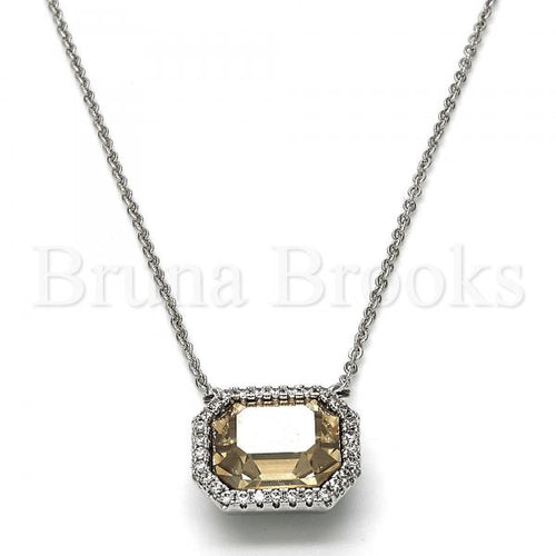 Rhodium Plated Fancy Necklace, with Swarovski Crystals and Crystal, Rhodium Tone