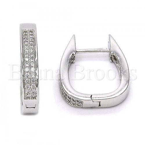 Bruna Brooks Sterling Silver 02.174.0059.15 Huggie Hoop, with White Micro Pave, Polished Finish, Rhodium Tone