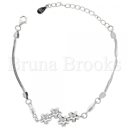 Bruna Brooks Sterling Silver 03.183.0037 Fancy Bracelet, Flower Design, Diamond Cutting Finish, Rhodium Tone