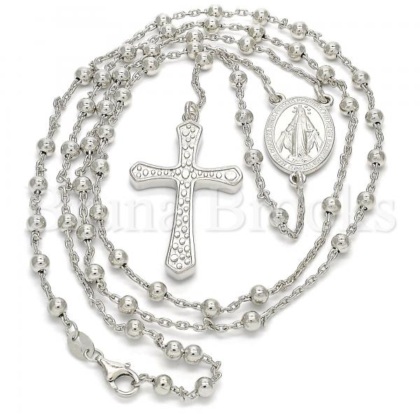 Sterling Silver 09.285.0003.28 Thin Rosary, Virgen Maria and Cross Design, Polished Finish, Rhodium Tone