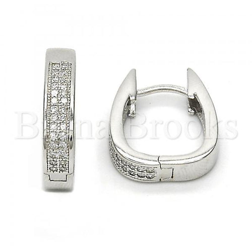 Bruna Brooks Sterling Silver 02.174.0052.15 Huggie Hoop, with White Micro Pave, Polished Finish, Rhodium Tone