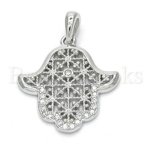 Bruna Brooks Sterling Silver 05.336.0019 Fancy Pendant, Hand of God Design, with White Cubic Zirconia, Polished Finish, Rhodium Tone